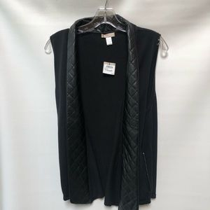 Nordstrom's Quilted Faux Leather Trimmed Vest